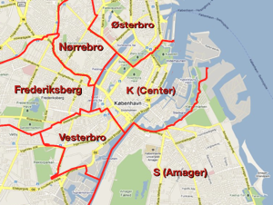 Map of Copenhagen with neighborhoods outlined